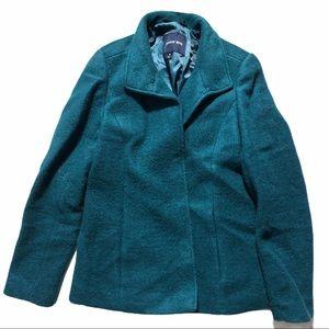 LANDS END Teal Wool Pea Coat